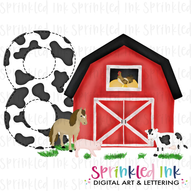 Watercolor PNG -RED- EIGHT- Birthday Barnyard Farm Download File - Sprinkled Ink Digital Designs