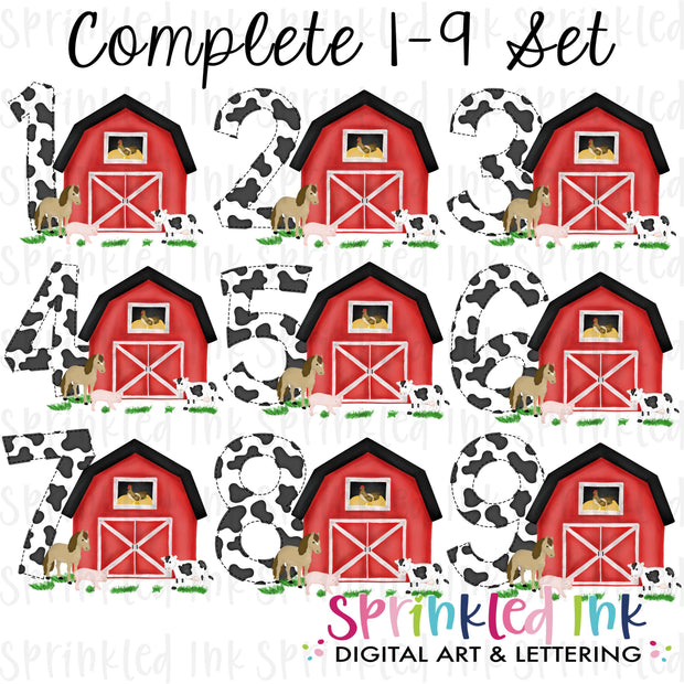 Watercolor PNG -RED- Birthday Barnyard Farm Set 1-9 Download File - Sprinkled Ink Digital Designs