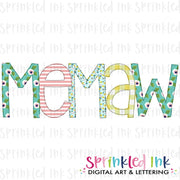 Watercolor PNG -MEMAW- Family Name Download File - Sprinkled Ink Digital Designs