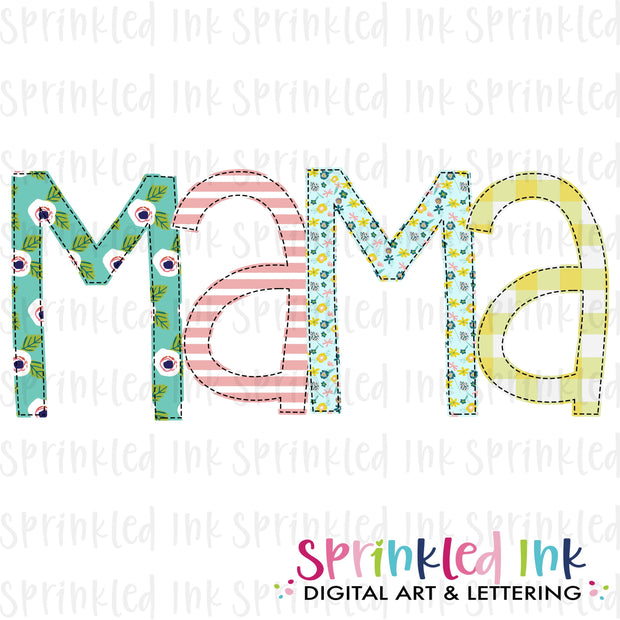 Watercolor PNG -MAMA- Family Name Download File - Sprinkled Ink Digital Designs