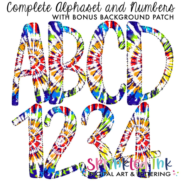 Watercolor PNG Tie Dye -BOY RAINBOW- Faux Applique Alphaset with Bonus Background Patches Digital Download File - Sprinkled Ink Digital Designs