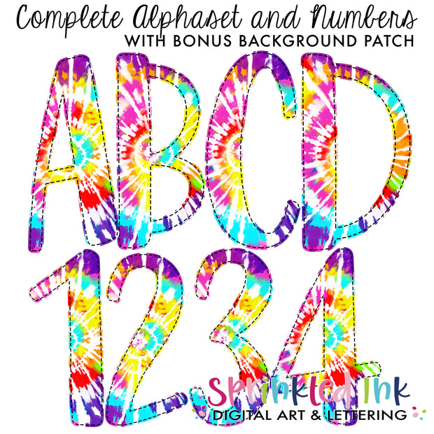 Watercolor PNG Tie Dye -BRIGHT RAINBOW- Faux Applique Alphaset with Bonus Background Patches Digital Download File - Sprinkled Ink Digital Designs