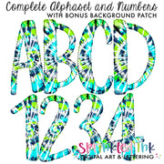 Watercolor PNG Tie Dye -AQUA and LIME- Faux Applique Alphaset with Bonus Background Patches Digital Download File - Sprinkled Ink Digital Designs