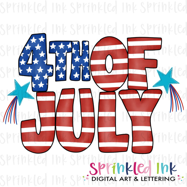 Watercolor PNG 4th of July Word Art Download File - Sprinkled Ink Digital Designs