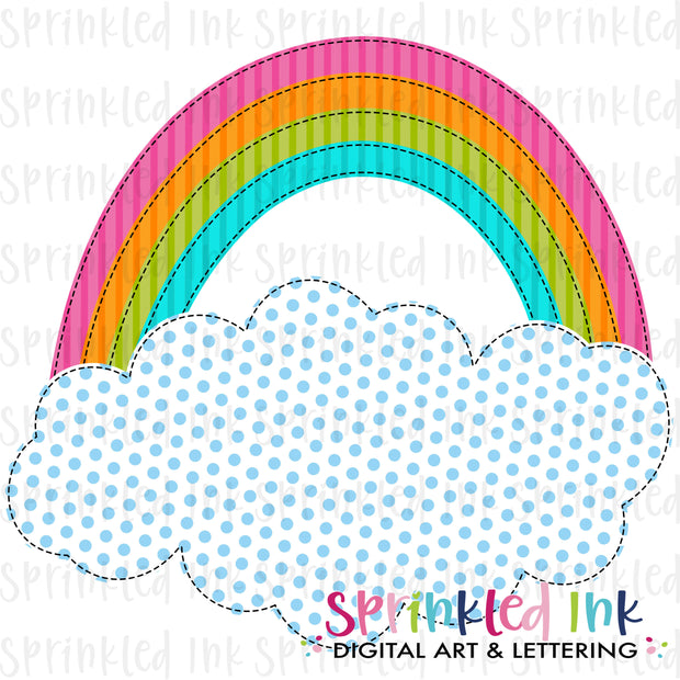 Watercolor PNG Bright Faux Applique Rainbow Cloud Download File - Sprinkled Ink Digital Designs