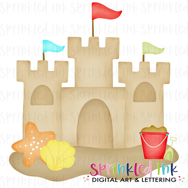 Watercolor PNG Boys Sandcastle Download File - Sprinkled Ink Digital Designs