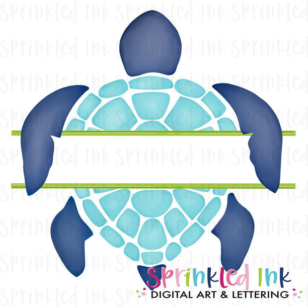 Watercolor PNG Split Name Plate -Blue- Sea Turtle Download File - Sprinkled Ink Digital Designs