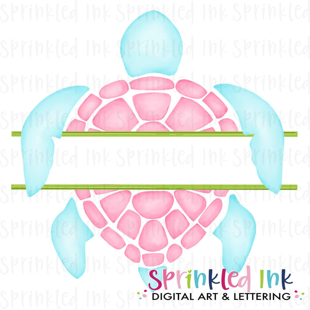 Watercolor PNG Split Name Plate -Pink- Sea Turtle Download File - Sprinkled Ink Digital Designs