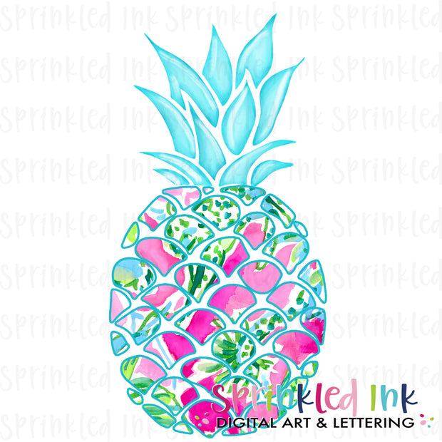 Watercolor PNG Lilly Pineapple Download File - Sprinkled Ink Digital Designs