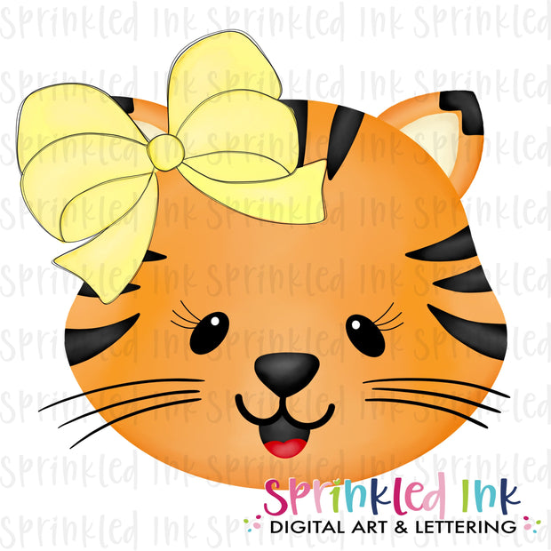 Watercolor PNG Tiger Girl Face with Big Yellow Bow Download File - Sprinkled Ink Digital Designs