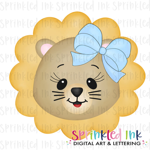 Watercolor PNG Lion girl Face with Big Blue Bow Download File - Sprinkled Ink Digital Designs