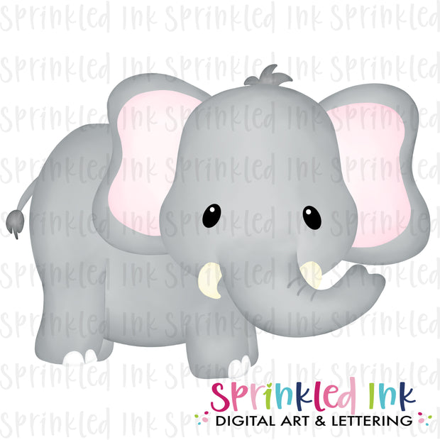 Watercolor PNG Baby Elephant Download File - Sprinkled Ink Digital Designs
