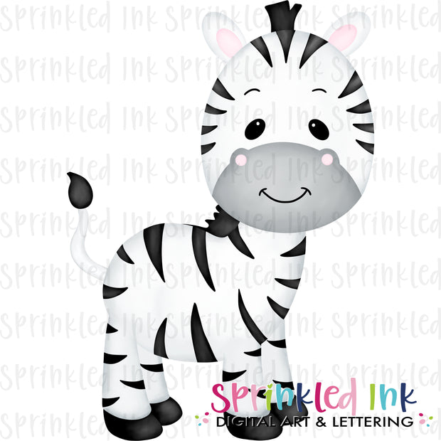 Watercolor PNG Baby Zebra Download File - Sprinkled Ink Digital Designs