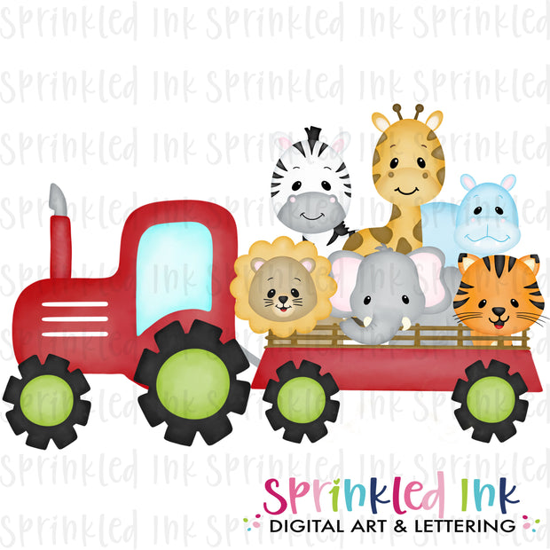 Watercolor PNG Red Zoo Tractor Download File - Sprinkled Ink Digital Designs