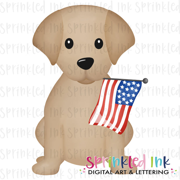 Watercolor PNG Patriotic Lab Puppy with Flag  Download File - Sprinkled Ink Digital Designs