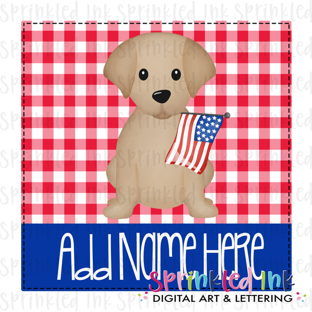 Watercolor PNG Patriotic Lab Puppy with Flag on Red Gingham Background Download File - Sprinkled Ink Digital Designs
