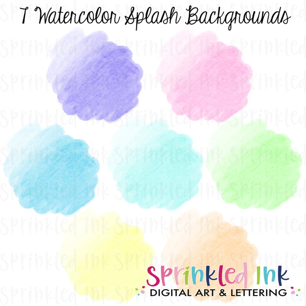 Watercolor Splash Digital Background Set Download PNG File - Sprinkled Ink Digital Designs