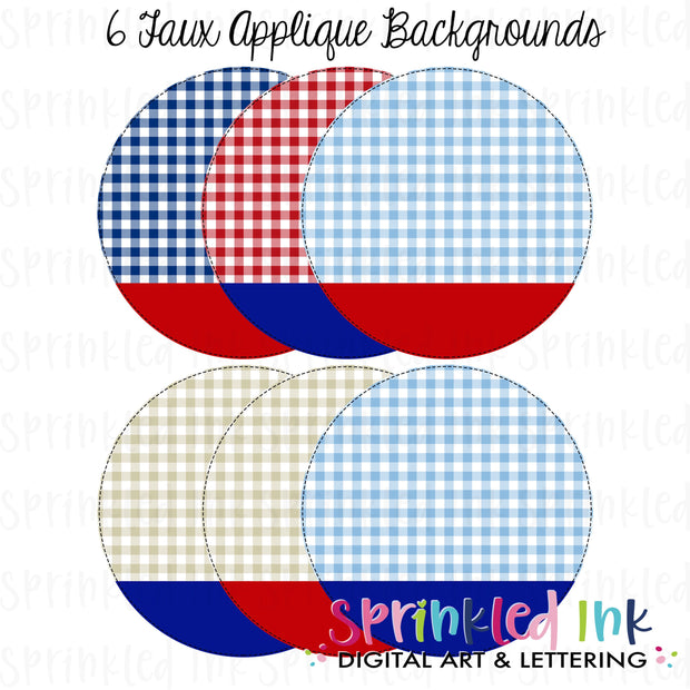 Watercolor PNG -Patriotic Gingham-Circle Nameplate- Faux Applique Digital Background Set Download File - Sprinkled Ink Digital Designs