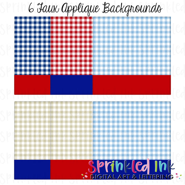 Watercolor PNG -Patriotic Gingham-Square Nameplate- Faux Applique Digital Background Set Download File - Sprinkled Ink Digital Designs