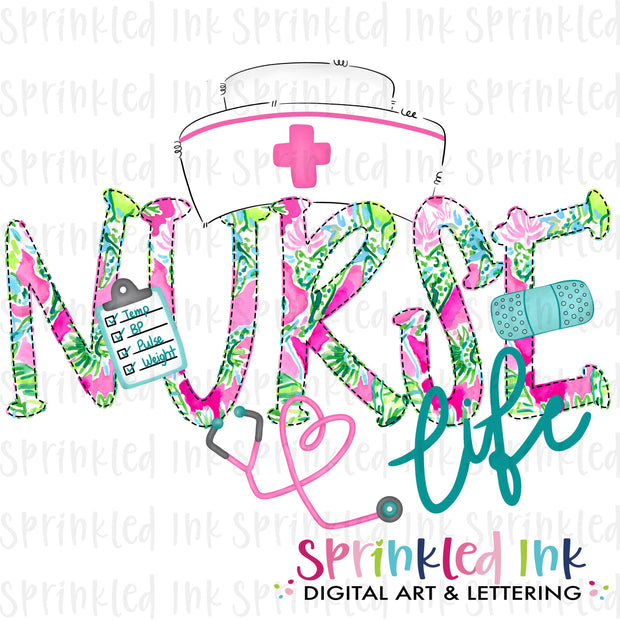 Watercolor PNG Nurse Life Bright Lily Floral Download File - Sprinkled Ink Digital Designs