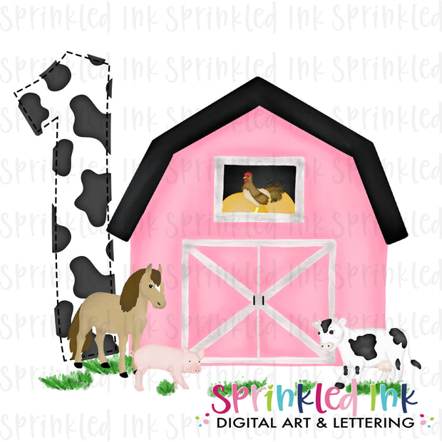 Watercolor PNG -PINK- ONE- Birthday Barnyard Farm Download File - Sprinkled Ink Digital Designs