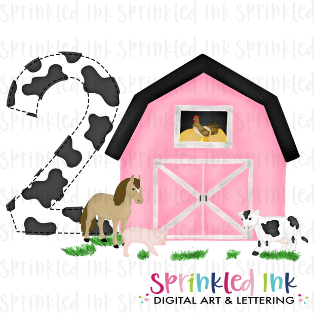 Watercolor PNG -PINK- TWO- Birthday Barnyard Farm Download File - Sprinkled Ink Digital Designs