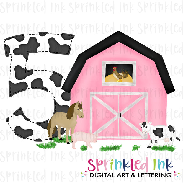 Watercolor PNG -PINK- FIVE- Birthday Barnyard Farm Download File - Sprinkled Ink Digital Designs