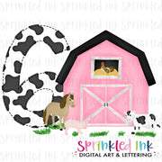 Watercolor PNG -PINK- SIX- Birthday Barnyard Farm Download File - Sprinkled Ink Digital Designs