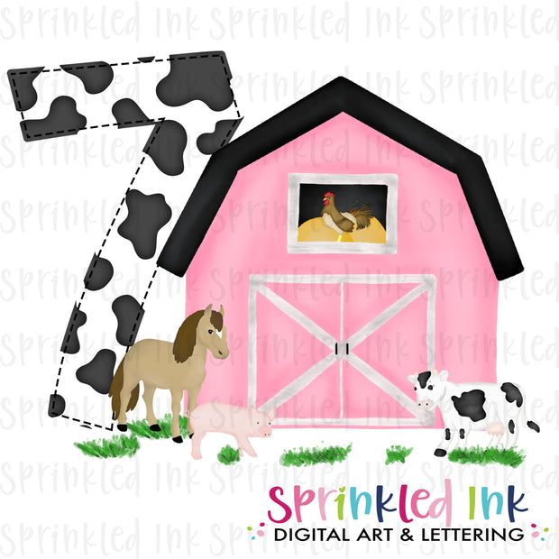 Watercolor PNG -PINK- SEVEN- Birthday Barnyard Farm Download File - Sprinkled Ink Digital Designs