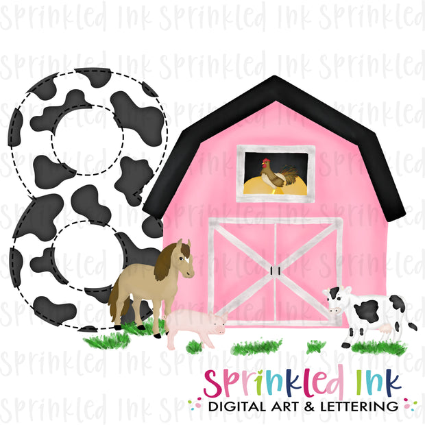 Watercolor PNG -PINK- EIGHT- Birthday Barnyard Farm Download File - Sprinkled Ink Digital Designs