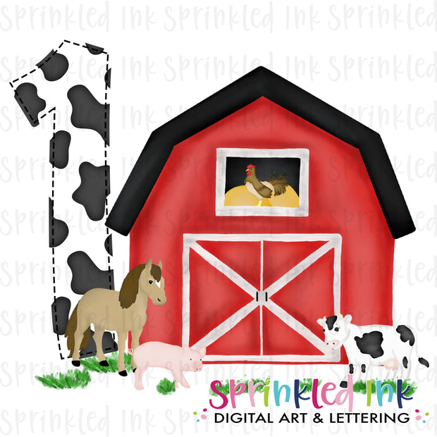 Watercolor PNG -RED- ONE- Barnyard Farm Animals Birthday Download File - Sprinkled Ink Digital Designs