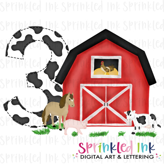Watercolor PNG -RED- THREE- Barnyard Farm Animals Birthday Download File - Sprinkled Ink Digital Designs