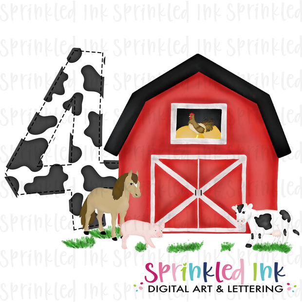 Watercolor PNG -RED- FOUR- Birthday Barnyard Farm Download File - Sprinkled Ink Digital Designs
