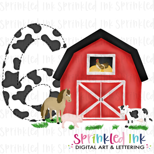Watercolor PNG -RED- SIX- Birthday Barnyard Farm Download File - Sprinkled Ink Digital Designs