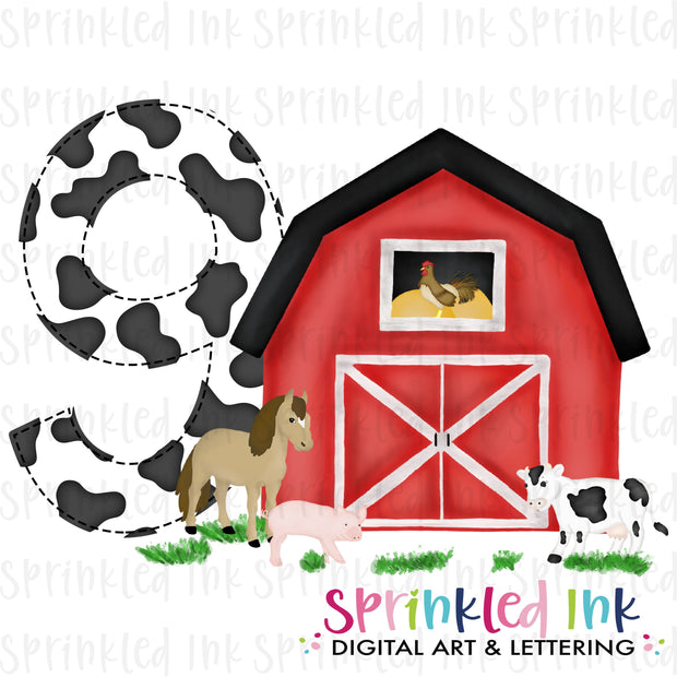 Watercolor PNG -RED- NINE- Birthday Barnyard Farm Download File - Sprinkled Ink Digital Designs