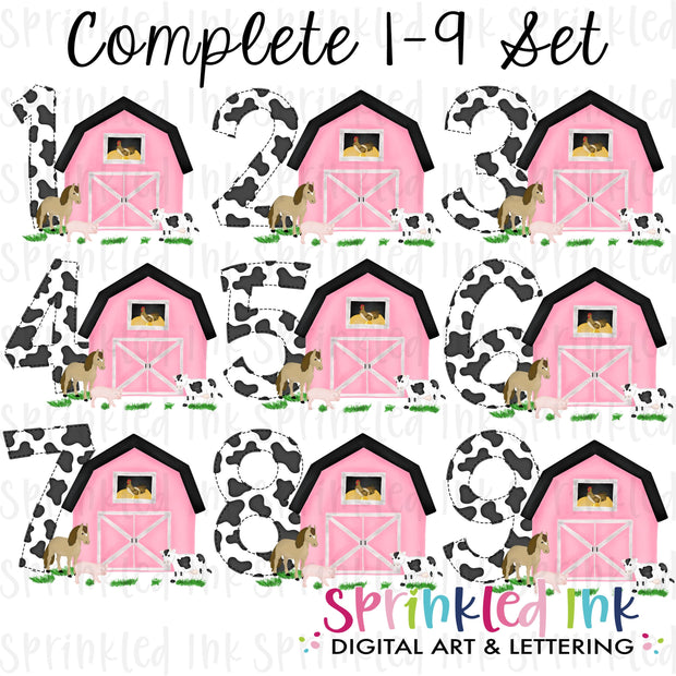 Watercolor PNG -PINK- Birthday Barnyard Farm Set 1-9 Download File - Sprinkled Ink Digital Designs