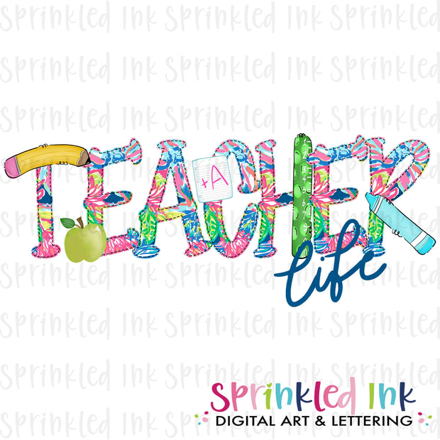 Watercolor PNG TEACHER Life Lily Print Download File - Sprinkled Ink Digital Designs