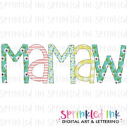 Watercolor PNG -MAMAW- Family Name Download File - Sprinkled Ink Digital Designs