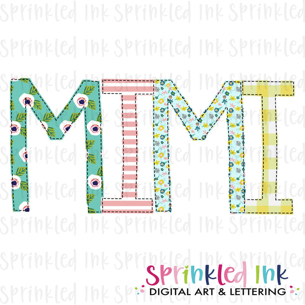 Watercolor PNG -MIMI- Family Name Download File - Sprinkled Ink Digital Designs