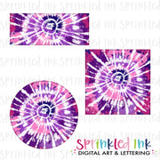 Watercolor PNG Tie Dye -PINK and PURPLE- Faux Applique Alphaset with Bonus Background Patches Digital Download File - Sprinkled Ink Digital Designs