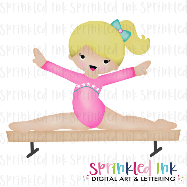 Watercolor PNG Gymnast Girl on Balance Beam |BLONDE|Pink Leotard| Download File - Sprinkled Ink Digital Designs