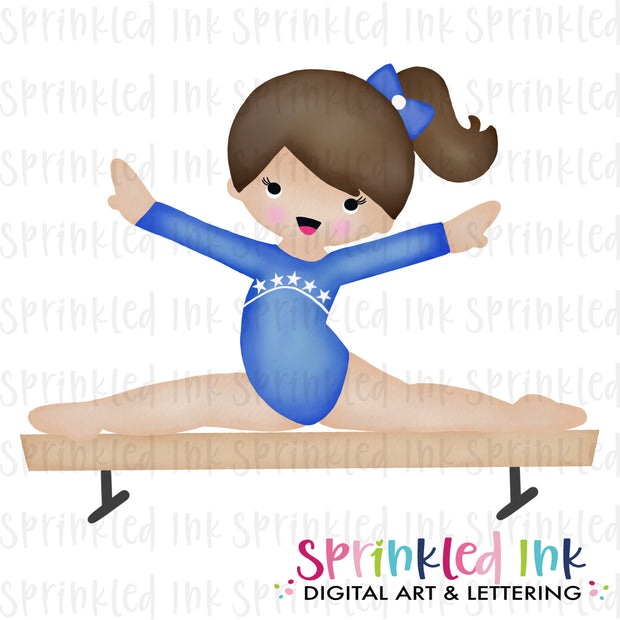 Watercolor PNG Gymnast Girl on Balance Beam |BROWN|Blue Leotard| Download File - Sprinkled Ink Digital Designs