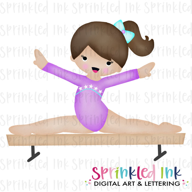 Watercolor PNG Gymnast Girl on Balance Beam |BROWN|Purple Leotard| Download File - Sprinkled Ink Digital Designs