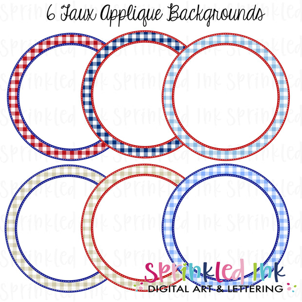 Watercolor PNG -Patriotic Gingham- Faux Applique Digital Background Set Download File - Sprinkled Ink Digital Designs