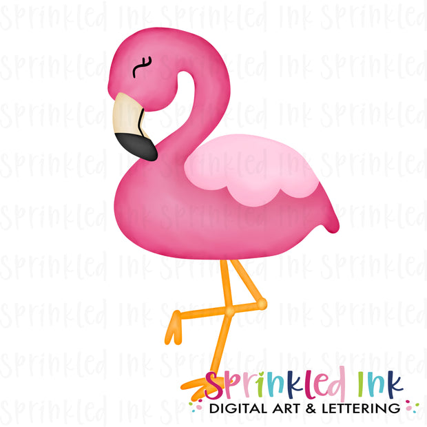 Watercolor PNG Standing Pink Flamingo Download File - Sprinkled Ink Digital Designs