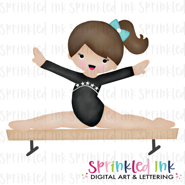 Watercolor PNG Gymnast Girl on Balance Beam |BROWN|Black Leotard| Download File - Sprinkled Ink Digital Designs