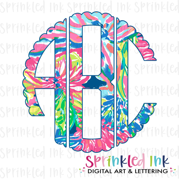 Watercolor Printable PNG Bright Preppy Floral Scallop Circle Monogram Set Digital Download File - Sprinkled Ink Digital Designs