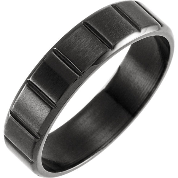 Black PVD Titanium 6 mm Grooved Band