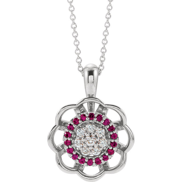 14K White Ruby & 1/3 CTW Diamond Pendant