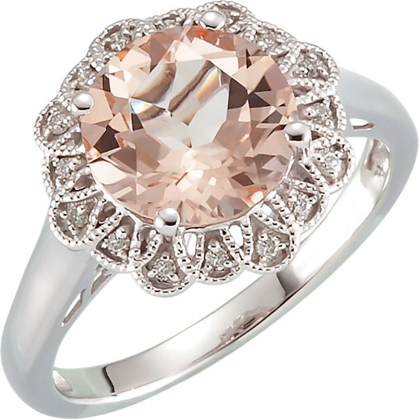 14K White Gold Morganite & .08 CTW Diamond Ring